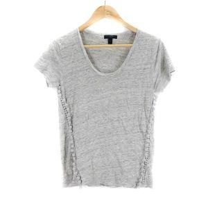 J. Crew Linen T-Shirt With Pom Poms Size XS